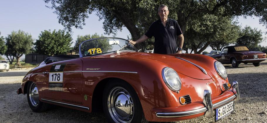 2012: Vic Elford am Porsche 356 bei der Targa Florio auf Sizilien.