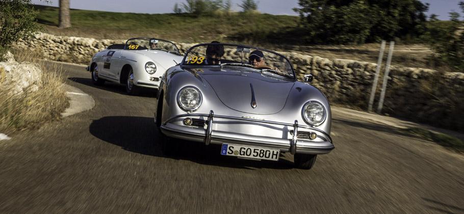 2012: Zwei Porsche 356 Speedster bei der Targa Florio auf Sizilien.