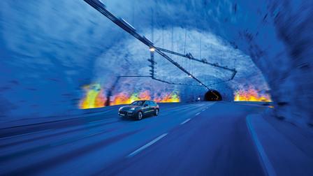 The Porsche Cayenne in the world's longest road tunnel between Aurlandsvangen and Lærdalsøyri