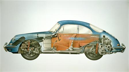 Porsche 1962, 356B Coupé composite sketch