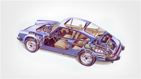 Porsche 1979 (Mj.), 911 SC 3.0 Coupé composite sketch