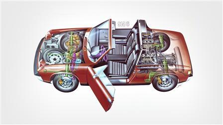 Porsche 1970-72, 914-6 esquema del vehículo
