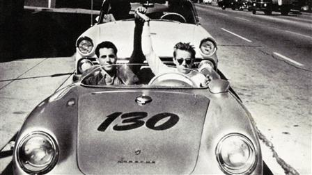 Porsche Actor James Dean (right) and Passenger in the 550 Spyder, 1955