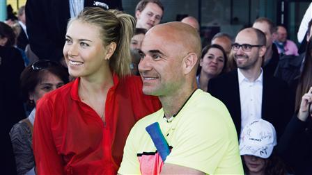 Tennis superstar Maria Sharapova (left) and Andre Agassi
